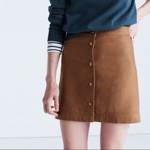Madewell brown front button skirt